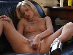 Blonde Ember Nails Herself On A Couch By Dildos