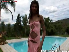 Slender Shemale Solo By The Pool