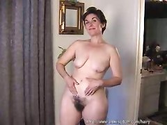 Lustful Mature Shows Off Hairy Pussy!