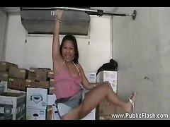 Cute Asian Girl Has Fun Flashing Us