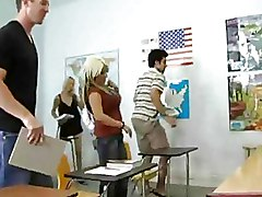 She Fucks In A Classroom In Black Stockings With Many Men