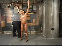 Poor Sinnamon Love Is Oiled And Tortured By A Perv