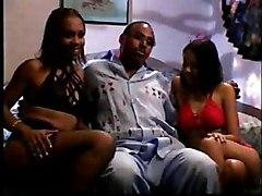 Two Ebony Chicks Pampering Black Dick