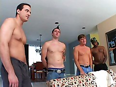 Blond Gangbang Chick Swallows Four