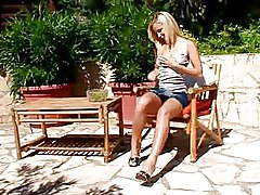 Blonde Alison Strip And Poses Outdoor