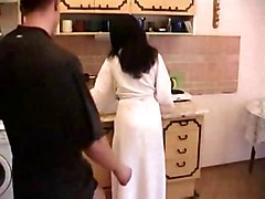 Hairy Mom Fuck Whith Young Boy In The Kitchen