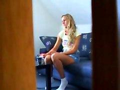 Sexy Blonde Teen Caught Masturbating