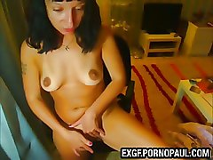 Girl Shoves Bottle Up Her Pussy