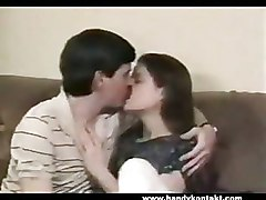 Amateur Brunette Kisses Him On The Lips And Gets Pussy Fucked