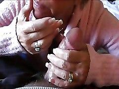 Hot Blonde Granny Swallows Huge Cum Load