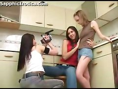 Teen Lesbos Play In The Kitchen