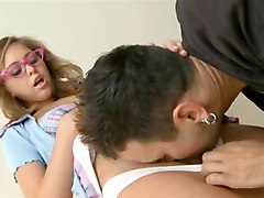 Squirting Schoolgirl Wearing Glasses Banged Hard