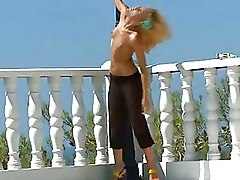 My Beautiful Blonde Girlfriend Naked On Terrace