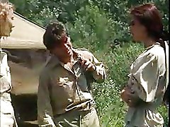 Two Chicks And A Guy Venture Into The Jungle To Fuck Like Monkeys