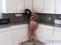 Adriana Sage Stripping In The Kitchen