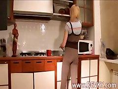 18yo Blonde Russia Stripping In Kitchen