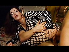 Fishnet Chick Has Two Horny Fans