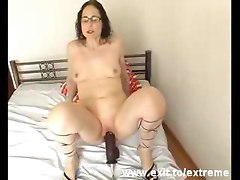 Big Insertion. Mother From German Plays With Huge Dildo