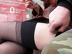 Girl In Stockings On The Bus Stop