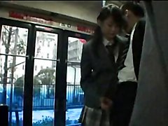 Asian Schoolgirl Give Handjob In Public Bus
