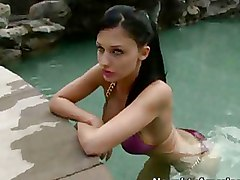 Bikini Babe Seduces Her Lover S Son Outdoors For A Blowjob