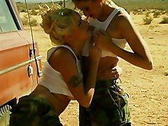 Great Lesbian Show By A Car In The Desert