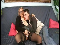 Glasses Are Sexy Old Mother Gives Son A Lesson Fuck Anal