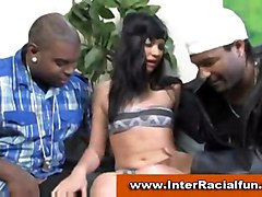 Sexy Chick Sucks Off Three Black Guys