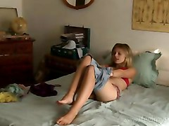 Teen Masturating On A Bed