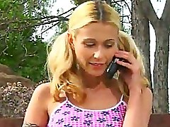 Blonde Teen Gets Picked Up And Licked Outdoors
