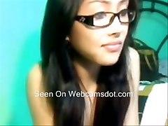 Cute Asian Girl In Glasses Masturbating