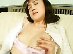 Horny Asian Wife Masturbating In Nylons