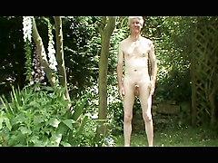 Strip  Wank  And Cum In The Garden