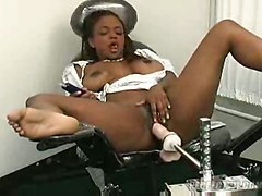Cute Ebony Babe Experiments With Own Holes
