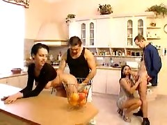 Gorgeous Brunette Hardcore Kitchen Orgy