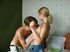 Tight Russian Teen Fucks Two Cocks