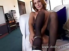 Blonde Cutie Brandy Lyons Masturbates On The Couch With Glass Dildo Leaking Her Juices On The Floor