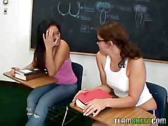 Horny Ashley Marie Fucks Savannah Stern In The Classroom Wit