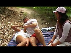 Brunette Interviewer Joins In On Horny Euro Couple