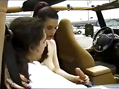 Public Sex In An Open Jeep - Natural Tits