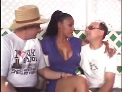 Cheating Busty Ebony Milf Gets Doubled-up Hard