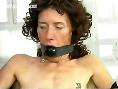 Dirty Slave With A Ball In Her Mouth Got Tied To Chair In A Jail And Shows Her Tight Pussy To The Police Officer