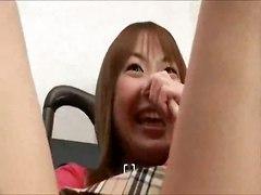 Asian Stuffed With Vibrating Dildo
