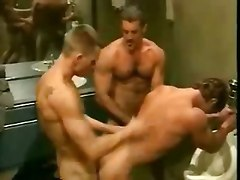 Mens Room Threesome!