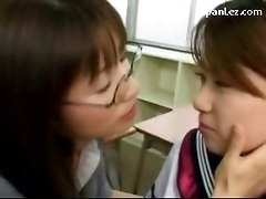Schoolgirl In Uniform Kissing Spitting With Her Teacher Getting Her Pussy Licked In The Classroom