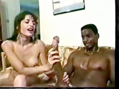 She Calmly Handles His Massive Black Cock Until It Explodes