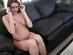 Erika Pregnant Girl Use Gold Dildo