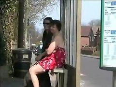 Two Ladies Flashing In A Uk Bus Stop