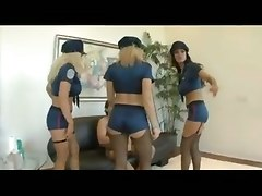 Three Police Booty Girls Ride Dude By Turn