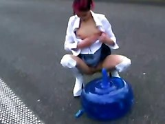 Girl Is Using A Gym Ball